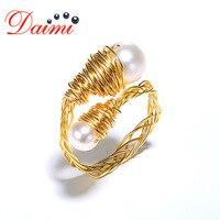 Даими 8-9 мм округлый Pearl Ring кольцо ручной работы для Для женщин