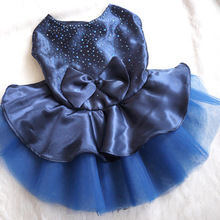 Pet Dog Cat Bow Diamond Dress Lace Skirt Style Princess Puppy Dog Clothes Costume Red/Blue/Golden Free shipping &Drop shipping