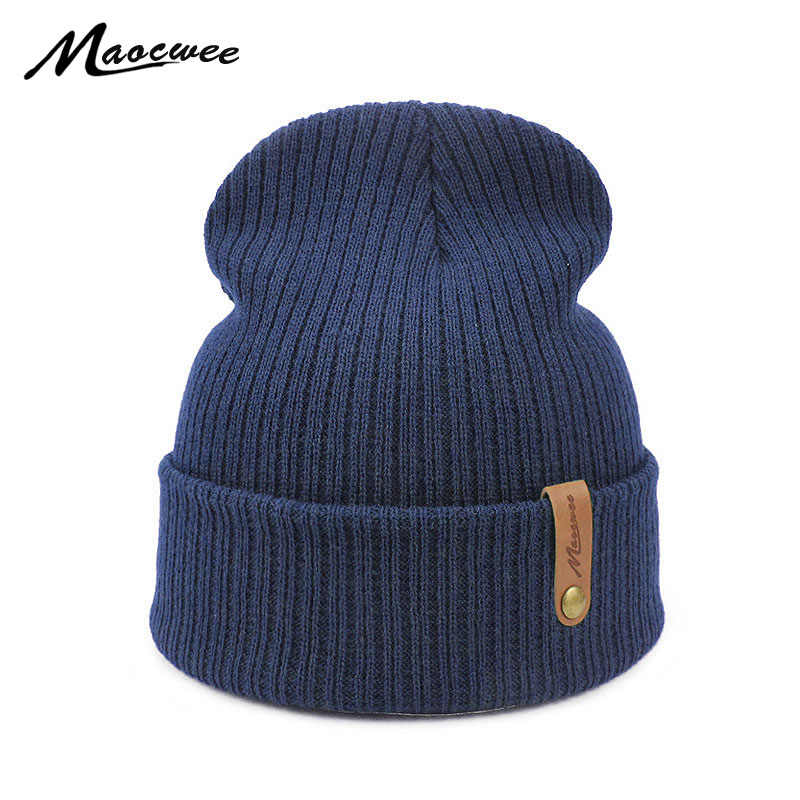 Women Men Crochet Beanie Hat Soft Warm Cap Autumn Winter Female Unisex  Adult Knitted Solid Color fb536d781fed