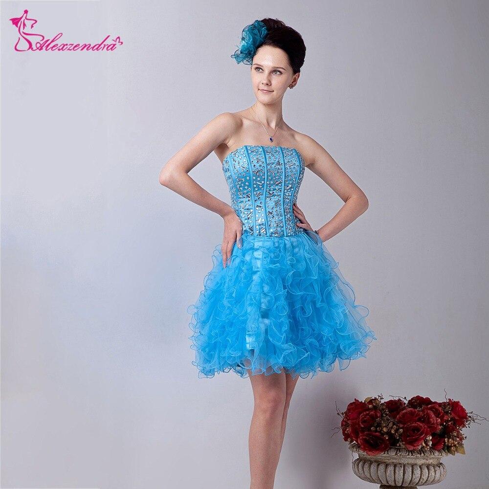 Alexzendra A Line Organza Blue Beaded Short   Prom     Dresses   Strapless Ruffles   Prom     Dress   Party   Dresses   Plus Size