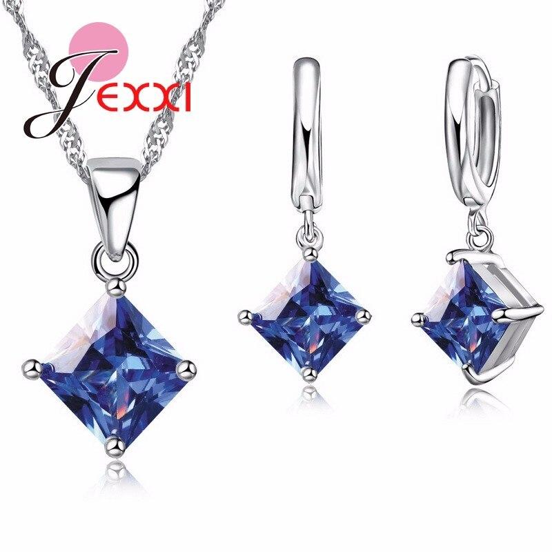 Jemmin элегантный синий кристалл наборы свадебных ювелирных изделий тонкой 925 пробы серебряный кулон цепочки и ожерелья серьги набор для женщи