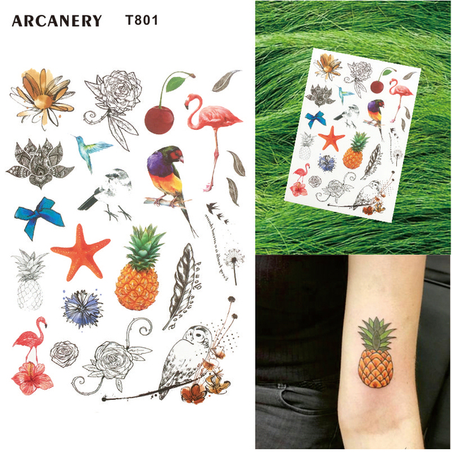 1c8582e40 T801 1 Piece Colorful Tropical Temporary Tattoo with Pineapple, Starfish,  Owl and Leaf Pattern Body Art