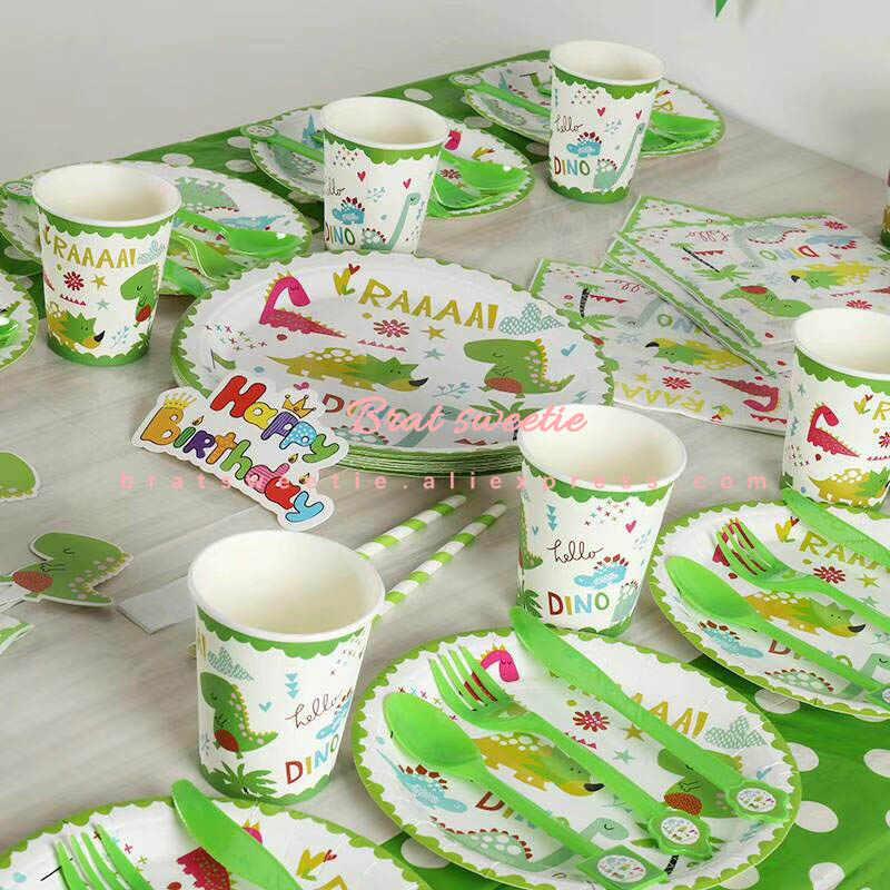 Festa da selva crianças meninos bebê feliz aniversário bandeira descartável conjunto de utensílios de mesa dinossauro temático festa decoração suprimentos favores