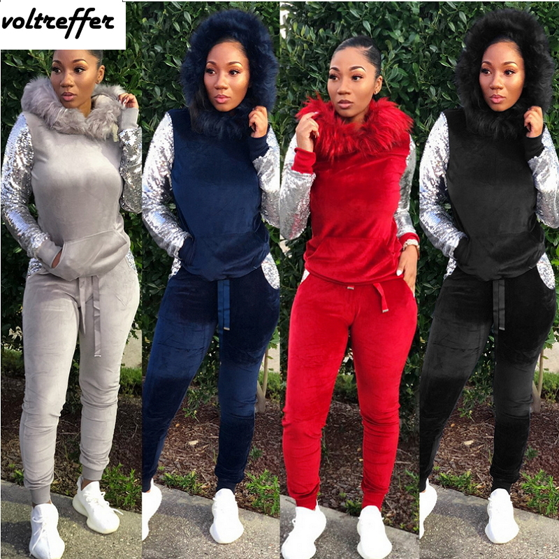 2019 Sweat Suit Two Piece Set Feather Hoodies Velour Tracksuit For Women Sequins Patchwork Moleton Feminino Casual Loose Outfits
