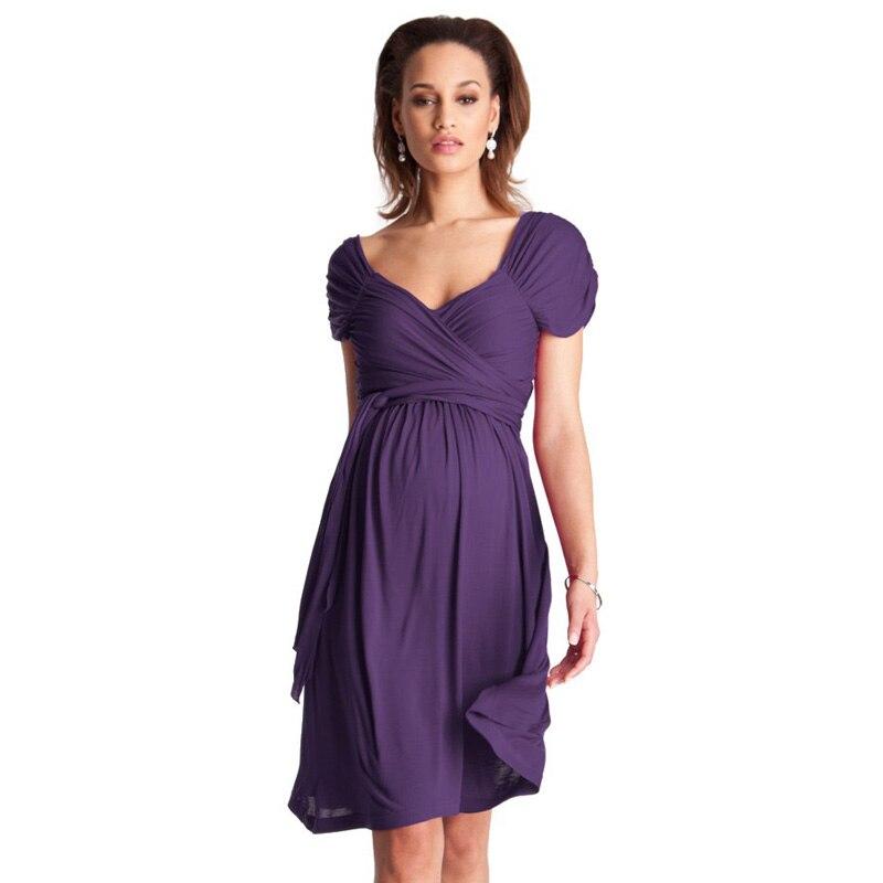 286016cf1 Plus tamaño ropa para mujeres embarazadas elegante Vestidos de maternidad  de manga corta Chaleco de oficina vestido de cóctel de noche Vestidos en  Vestidos ...