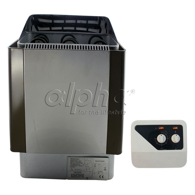 Free shipping 9KW380-413V 50HZ Stainless steel sauna heater with switch controller  comply with the CE standard