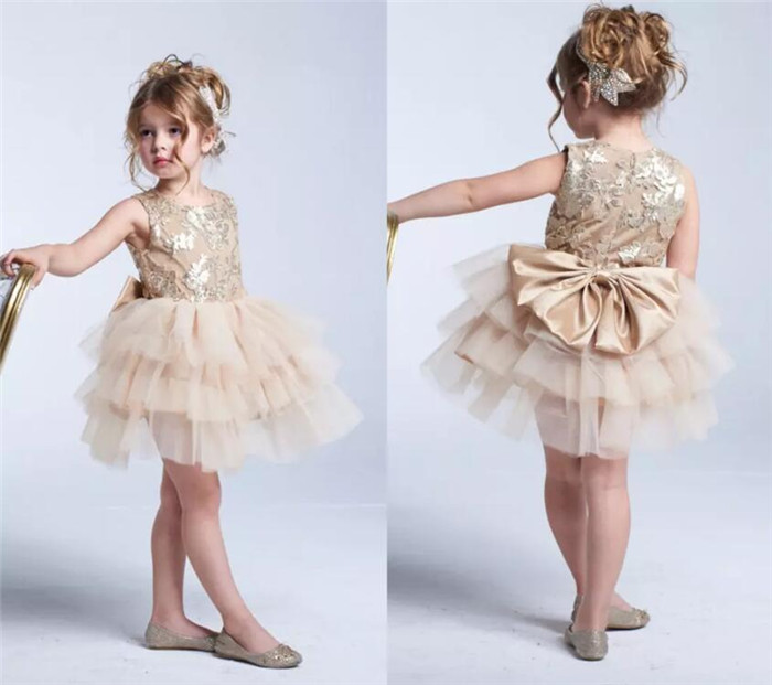 New Champagne Lace Flower Girl Dresses Jewel Neck A Line Baby Toddler Dress Cupcake Dresses First Communion Gown