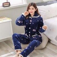 JINUO Long Sleeved Pant Women Pajama set Cartoon Animal Warm Coral Velvet Women's Suit 2018 Autumn Winter Fashion sleepwear