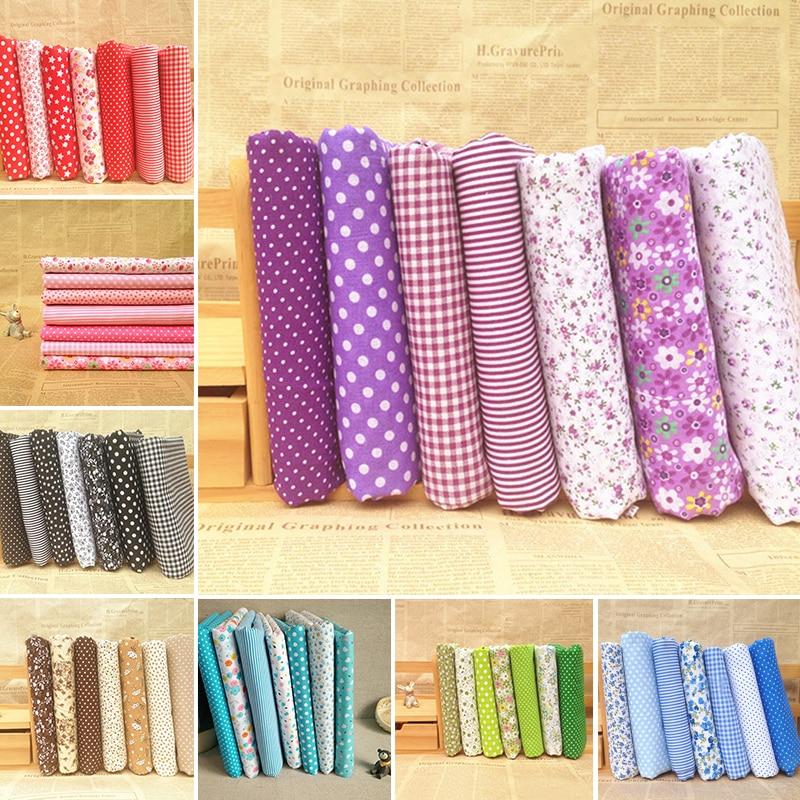 7st 50cm * 50cm 100% Bomull Liten Blommig Vanlig Tryckt Bomull Tyg För Tyg Syning Patchwork Quilting Handgjord Diy Textil