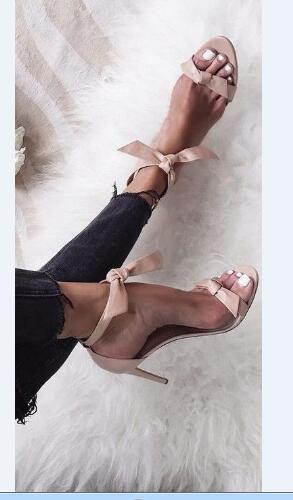 ФОТО 2017 summer women high heel pink sandals super high thin heels butterfly-knot ankle strap open toe women casual&party shoes