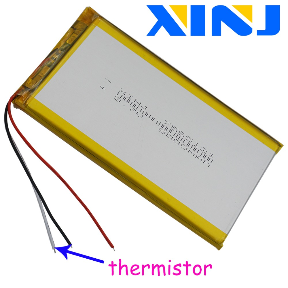 XINJ 3.7V 8000 MAh Li Polymer Battery 3wires For Thermistor 7565121 For GPS PSP PAD Ipod Portable DVD Power Bank Tablet PC IPTV