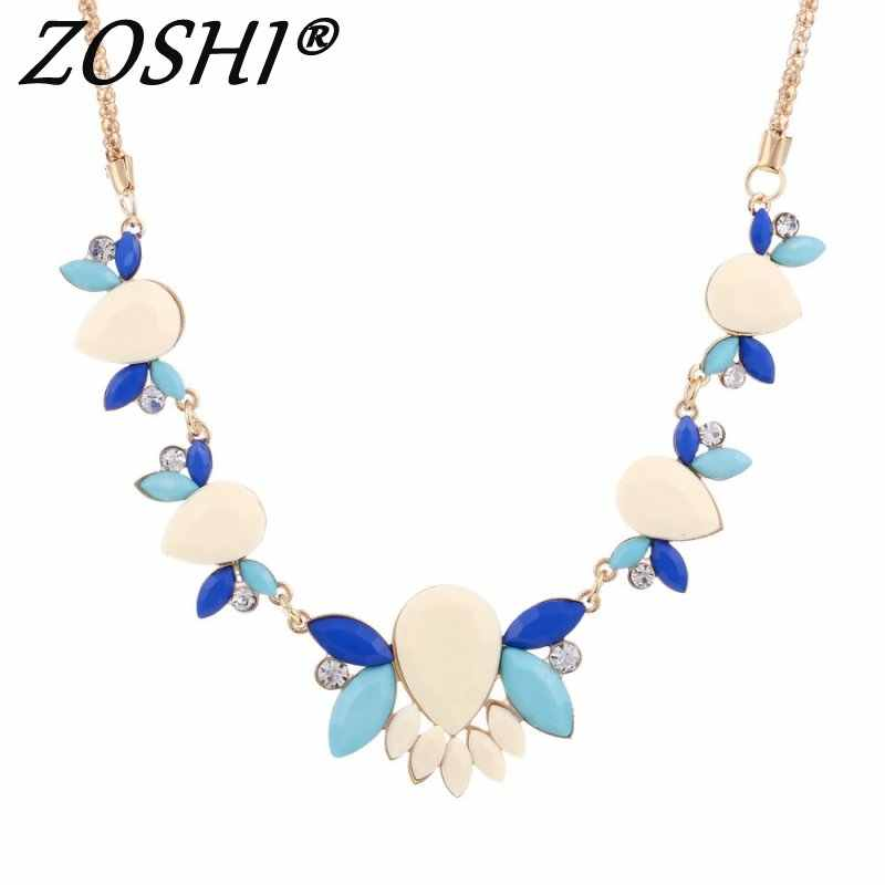 Fashion rhinestone Vintage Gold Necklaces & pendants big collar crystal statement choker necklace women Collier Boho jewelry