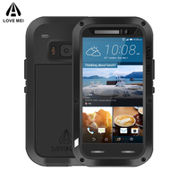 LOVE MEI Brand Waterproof Metal Case For HTC One M9 Powerful Shockproof Anti Knock Aluminum Case