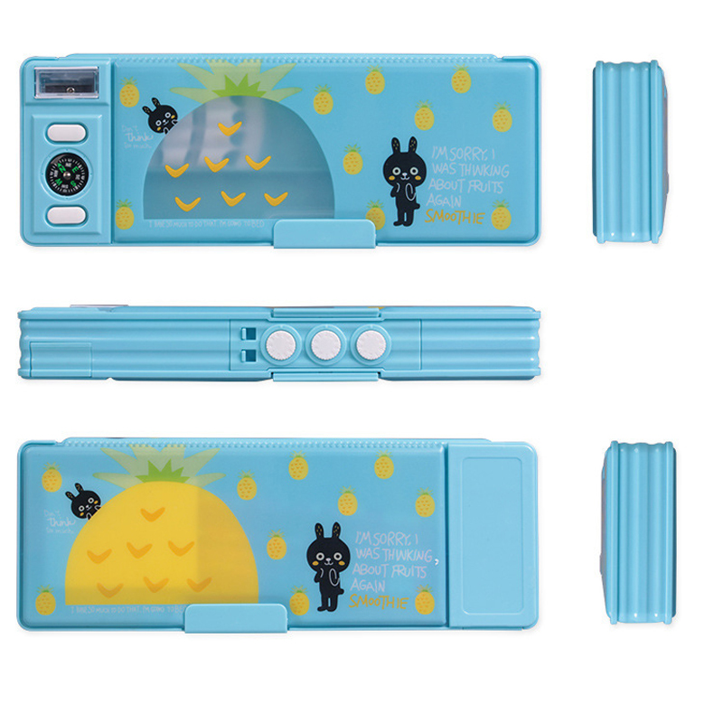 Multi-function New Children Cartoon Multifunctional Stationery Box Password Transparent Double-Sided Pencil Box escolar Penalty 5 grid multi function storage box transparent