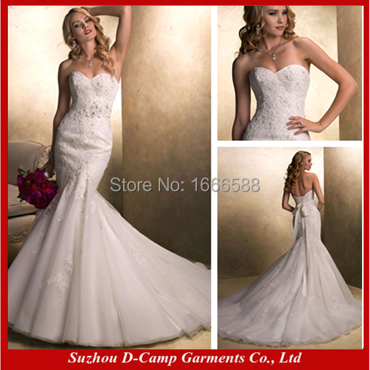 free shipping wd 1353 strapless lace mermaid wedding dress