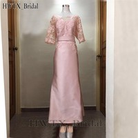 Pink Plus Size Mother Of The Bride Dresses For Weddings Sheer 1/2 Long Sleeve Sheath Lace Satin 2018 Prom Formal Evening Gown