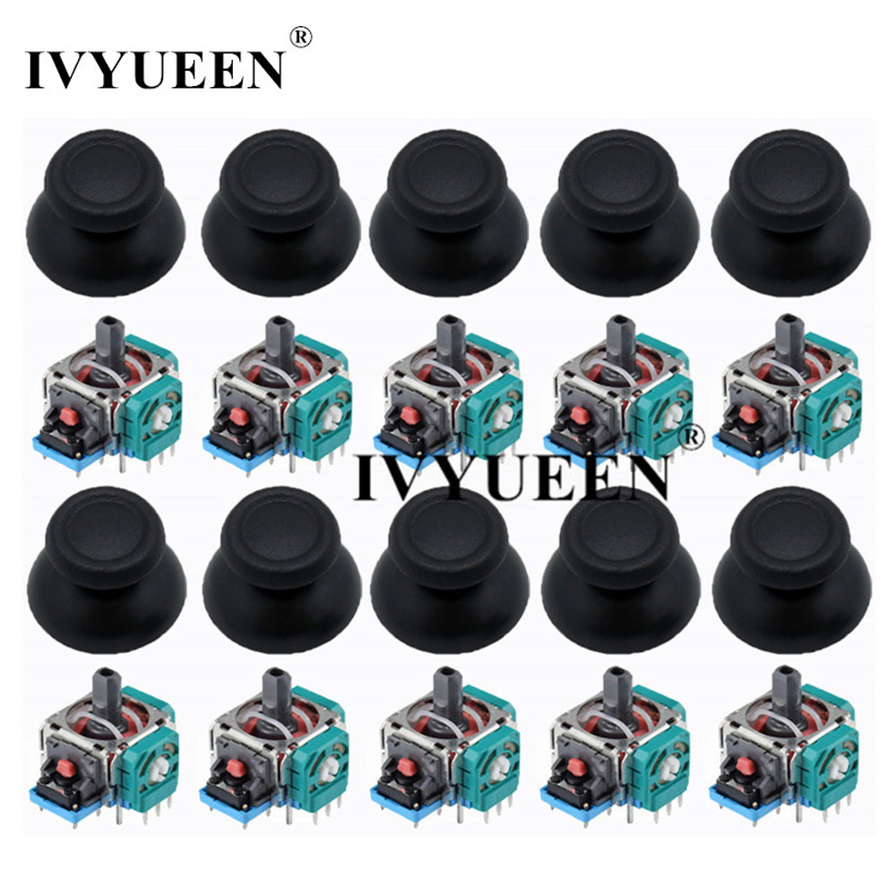 IVYUEEN 10 Sets 3D Analog Joystick Sensor Module Potentiometer Thumb Sticks For PlayStation 4 PS4 Pro Slim Controller Repair