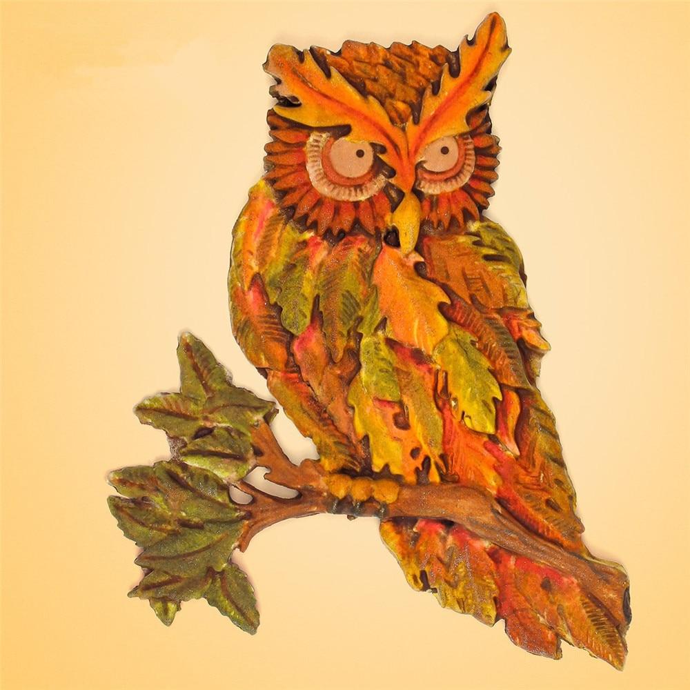 рисунки из листьев сова полотна