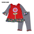 2016 new fashion RARE EDITIONS children's ruffle outfits clothing flower sets girls  cute kids long-sleeved stripe legging suits