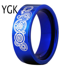 Free Shipping USA UK Canada Russia Brazil Hot Sales 8MM Blue Color Pipe Doctor Who Design Men's Comfort Tungsten Wedding Ring