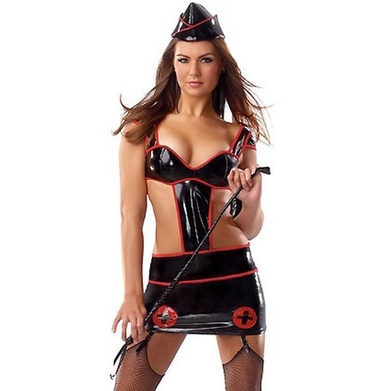 Adult Sexy Black Vinyl Leather Military Nurse Halloween Costume For Women Sexy Cut Out Night Lingerie Set Cosplay W84517
