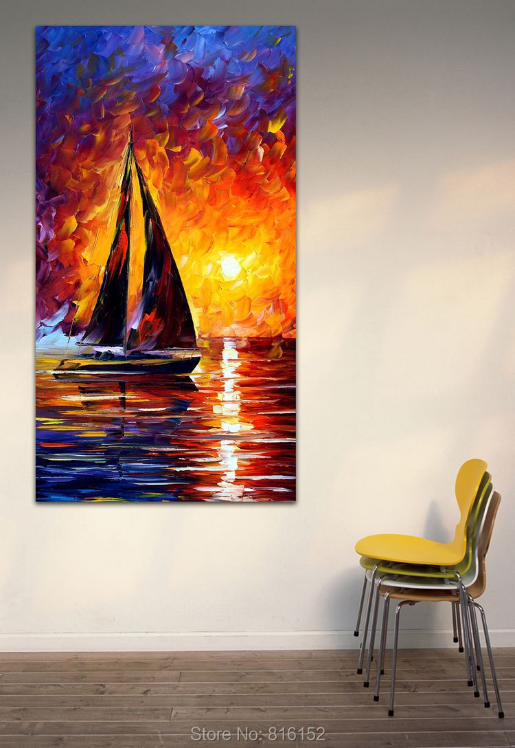 Full Speed Orange Wall Decorations Living Room Sailing Painting Printed On Canvas Room Decor China