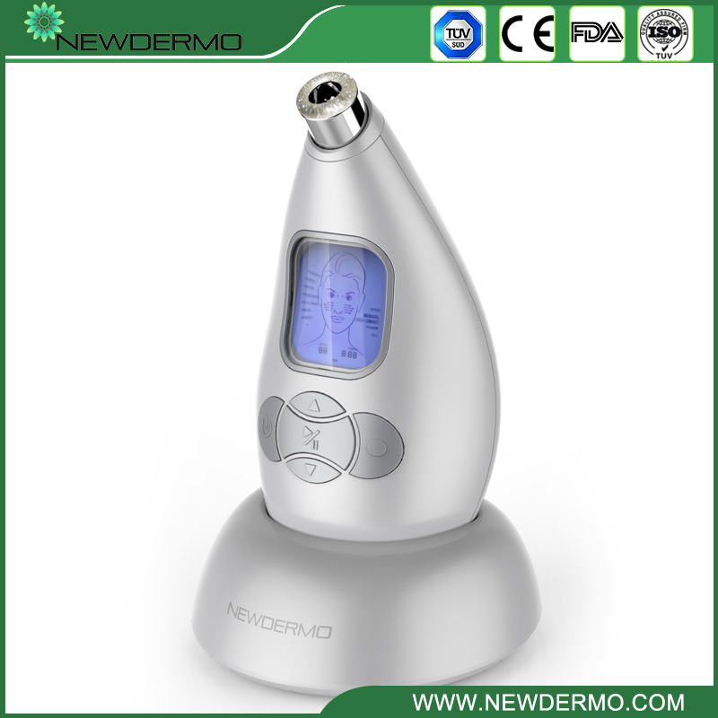 Silver NEWDERMO Face Cleansing Tool Vacuum Adsorption Diamond Microdermobrasion Device adsorption
