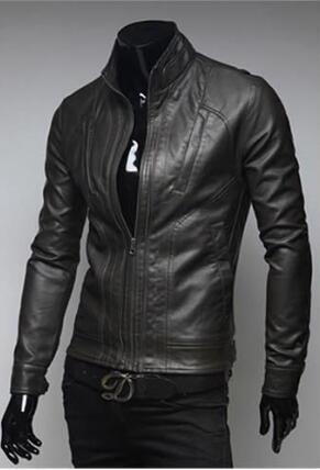 Осень-Мужские Кожаные Куртки И Пальто Байкер Мотоциклетная Куртка Кожа Мужчины Дери Ceket Жилет Весте Cuir Homme Jaqueta Masculina вниз-J