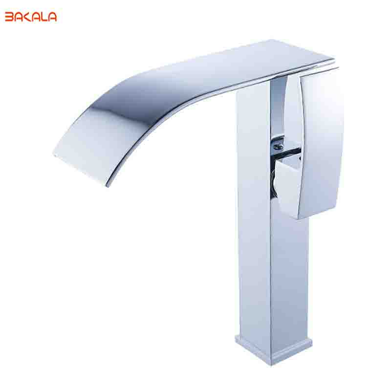 BAKALA Stainless Steel Tall Version  Basin Faucet Waterfall Faucet Hot&Cold Mixer Bathroom Tap Sink Chrome Finish  LT514B free shipping polished chrome finish new wall mounted waterfall bathroom bathtub handheld shower tap mixer faucet yt 5333