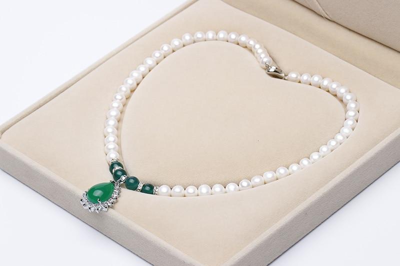 Collier de perles d'eau douce blanches naturelles 8-10mm, collier pendentif, ensemble de collier, est le meilleur cadeau pour les gens - 3