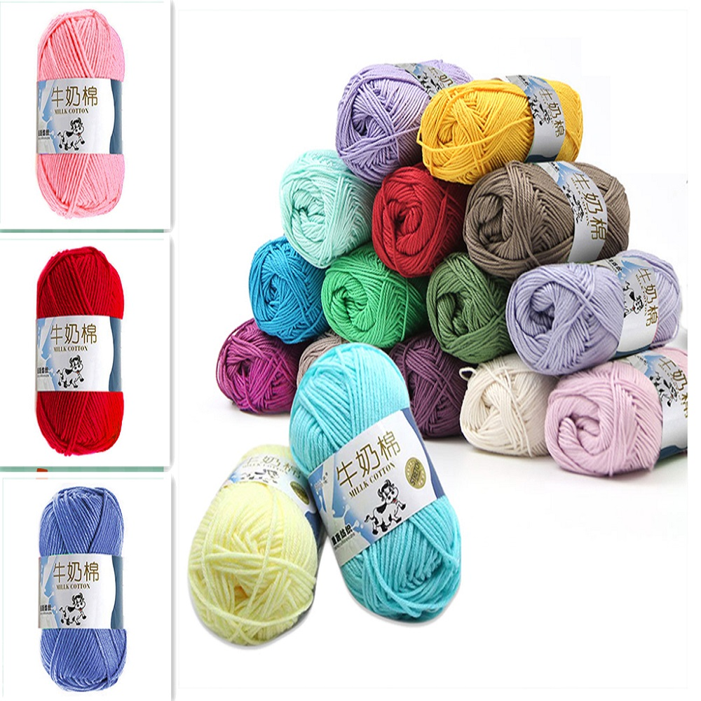 1Pc 50g Yarn Colorful Cotton Knitting Crochet Yarn Soft Fiber For Wool Sweater Scarf Socks Baby Clothes Hand Knitting Supplies