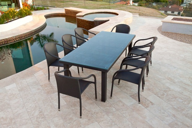 2017 Hot Sale Outdoor Synthetic Rattan Lawn And Patio Ultra Dining Table Set