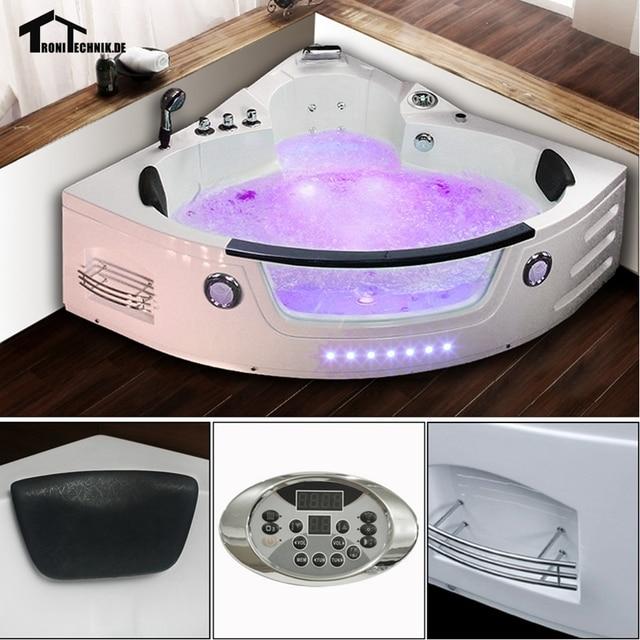 corner hot tub spa. 1350mm Whirlpool Wall Corner Hot Tub Glass Acrylic Triangular Hydromassage  Tub Shower Spa Massage 2 Person