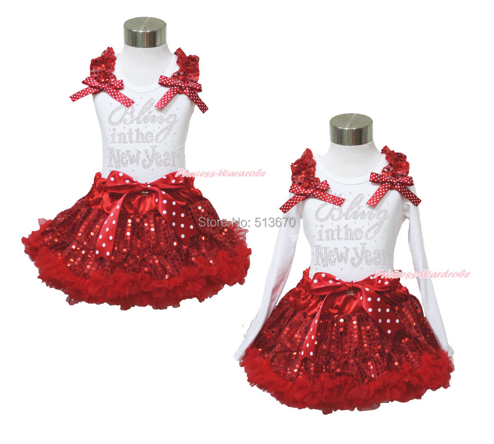 XMAS Rhinestone Bling in the New Year Print White Top Sparkle Sequins Red Pettiskirt Girl Outfit 1-8Y MAPSA0099 bringing in the new year