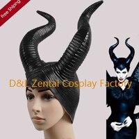 Free Shipping Head Rubber Latex Witch Mask Halloween Devil Horns Hat Sleeping Curse Marlene Fussen Black