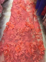 5yards NE014 good quality nice orange 3d FLOWER embroidery Tulle lace fabric for evening dress/wedding