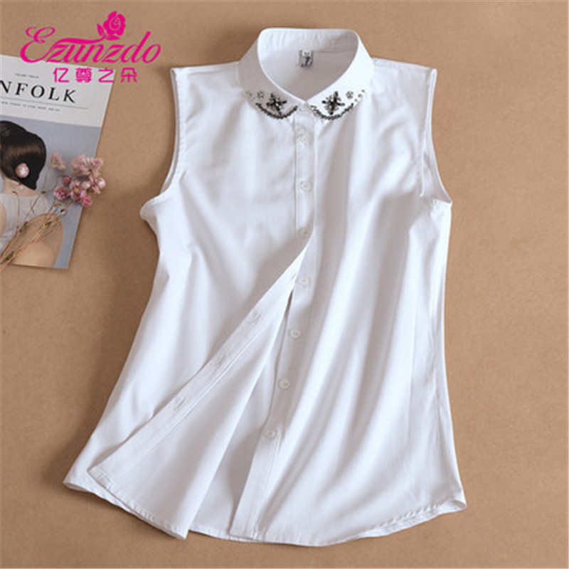 YIZUNZHIDUO Fashion Women Detachable Collar White Crystal Fake Collar Women Korean Lapel Blouse Top Clothes Accessories