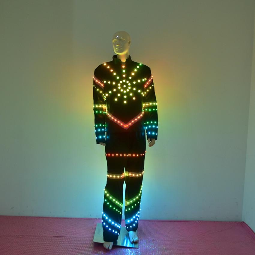 LED apģērbs Lielais saules gaismas tērps Vīriešiem Kvēlojošs LED drēbes Karnevāls LED kostīmi Balles mehāniskās bāra deju kleitas aksesuāri