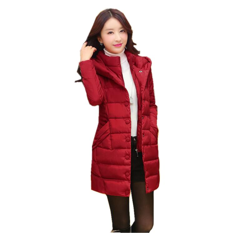 2017 Latest Winter Fashion Women Down jacket  Hooded Thick Super warm Long sleeve Coat Medium long Slim Big yards Coat SJ1125 2017 latest winter fashion women down jacket hooded thick super warm medium long coat long sleeve loose big yards parkas nz263