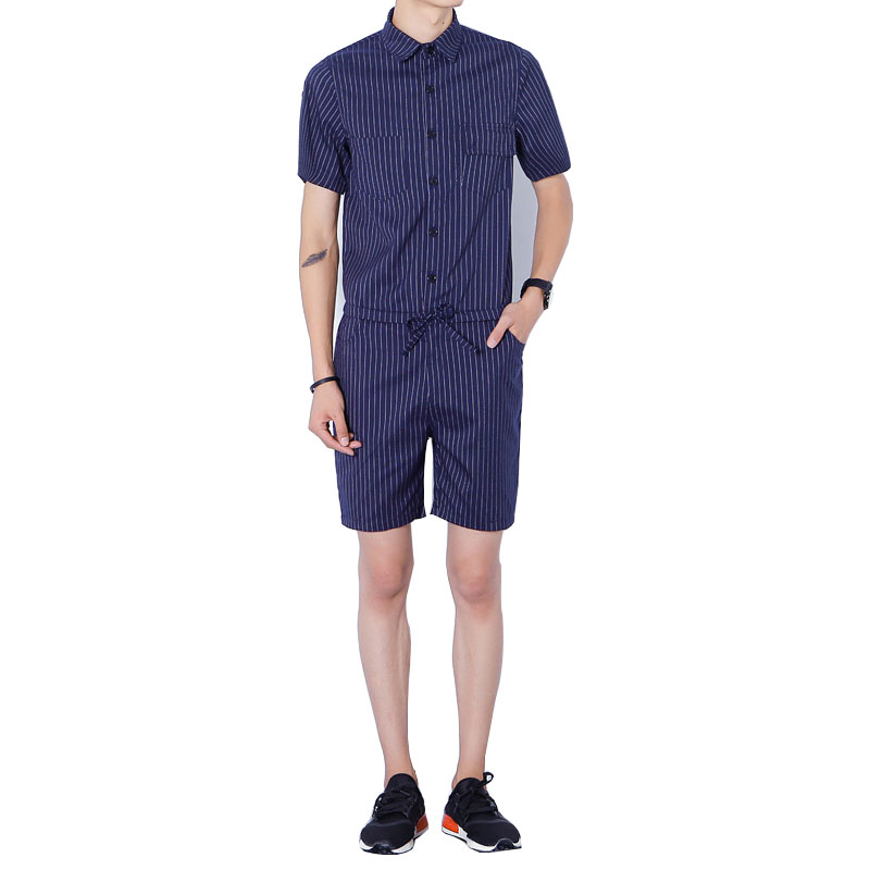 New Mens Cotton Denim Black Blue Stripe Jumpsuit Bib Overall Jeans Men Fashion Casual Ma ...