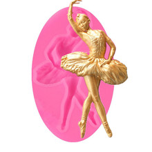 VOGVIGO 3D Dancing Ballet Girl Mould Fondant Silicone Decoration Mold DIY Cake Decorating Tools Baking
