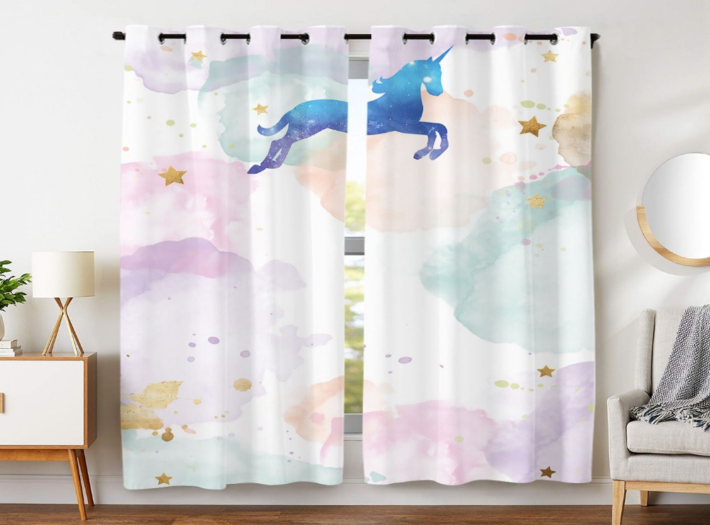 Blackout Curtains 2 Panels Grommet Curtains for Kids Bedroom Cute Cloud Star Unicorn Fantasy AnimalBlackout Curtains 2 Panels Grommet Curtains for Kids Bedroom Cute Cloud Star Unicorn Fantasy Animal
