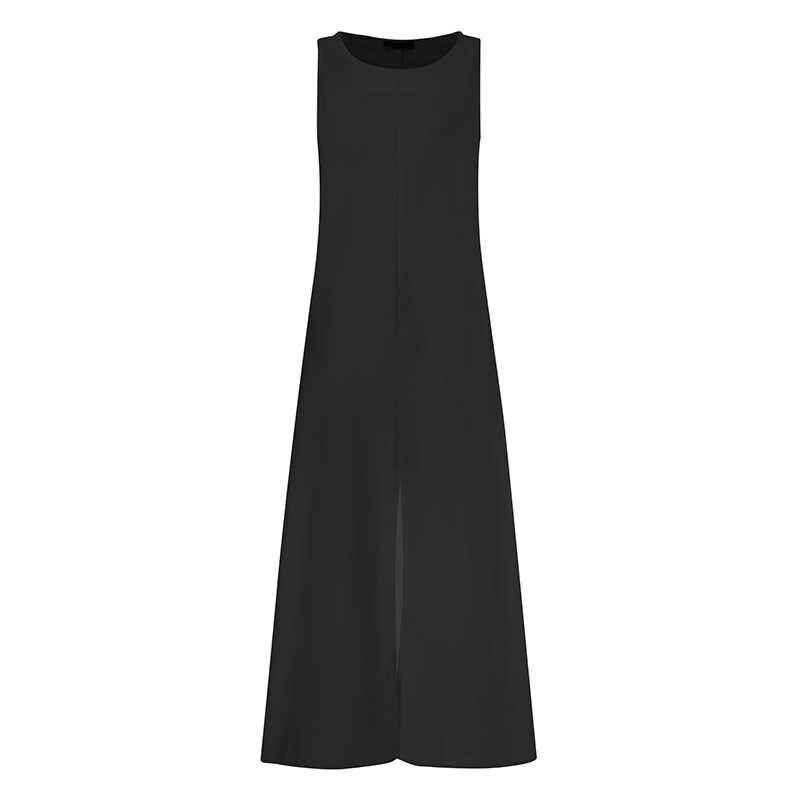 Celmia Zomer Mouwloze Zonnejurk Casual Ronde Hals Tanks Jurk Lange Vest Losse Bohemian Strand Vestidos Robe Femme Plus Size 5XL