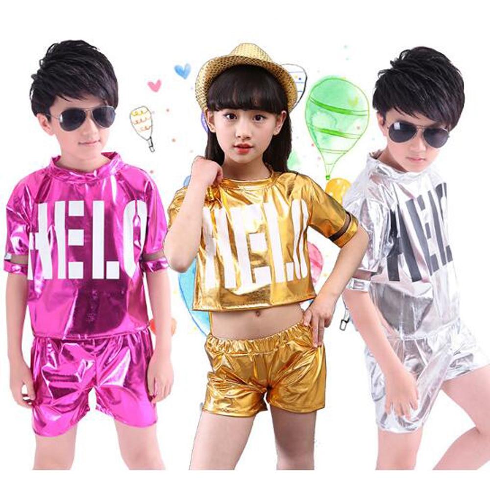 4d5e6fdad TiaoBug niños brillante de camisa de manga larga del coro de baile de Jazz  traje niño