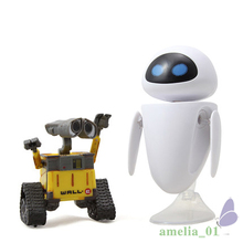 Hot Sale 6cm Wall-E Robot & 9cm EVE PVC Action Figure Wall E Collection Model  Little Cute Toys Robot Models Wall-E & EveToys wall e robot movie model cold rolled steel metal action figure toy doll robote personal handmade crafts juguetes figuras wall e