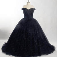 f4674363eab976 RSE847 Off Shoulder Shine Glitter Black Puffy Dress Ballkleider Lang Ball  Gown Evening Dresses