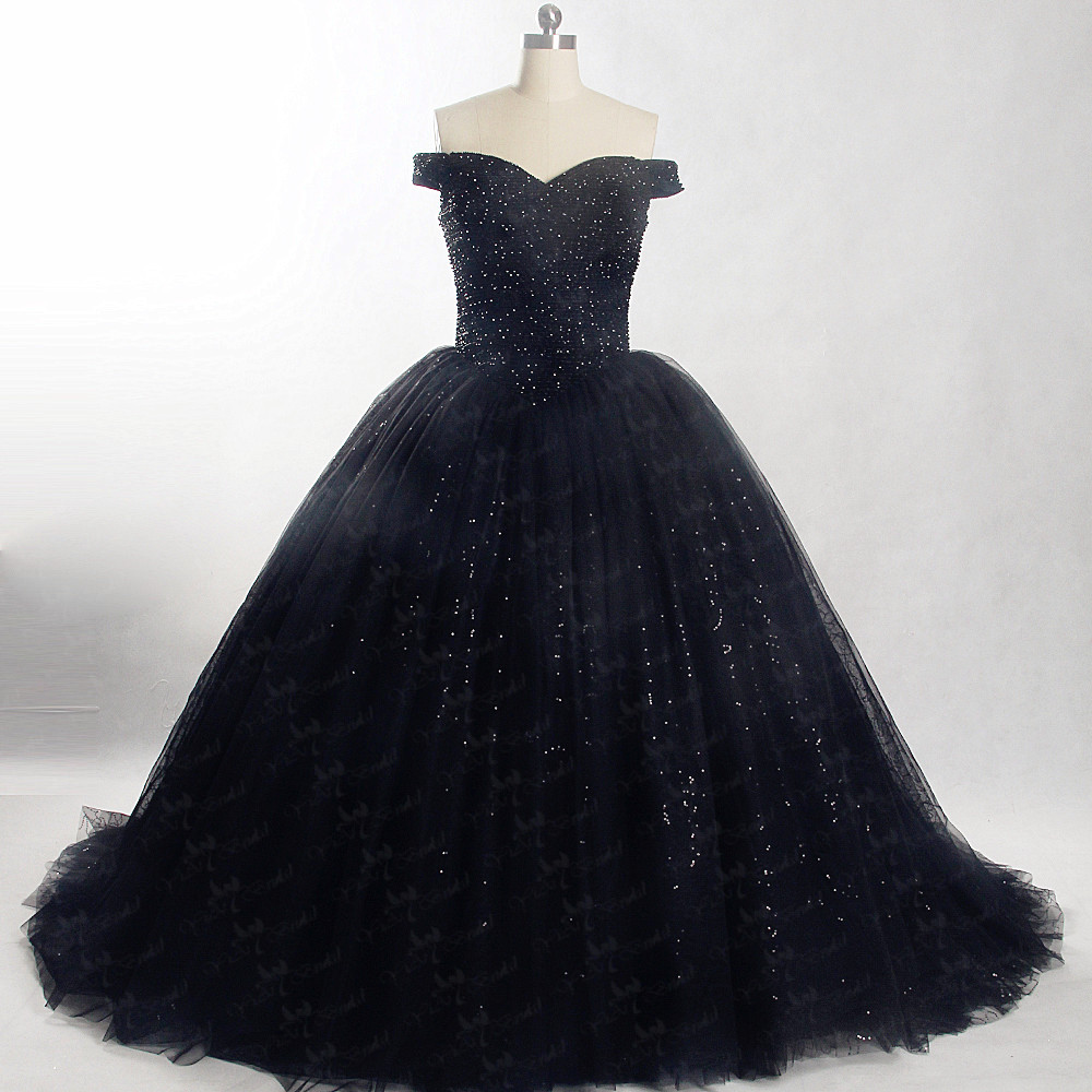 huge discount 68f05 75092 US $289.0 |RSE847 Off Shoulder Shine glitter Black Puffy Dress Ballkleider  Lang Ball Gown Evening Dresses-in Evening Dresses from Weddings & Events on  ...