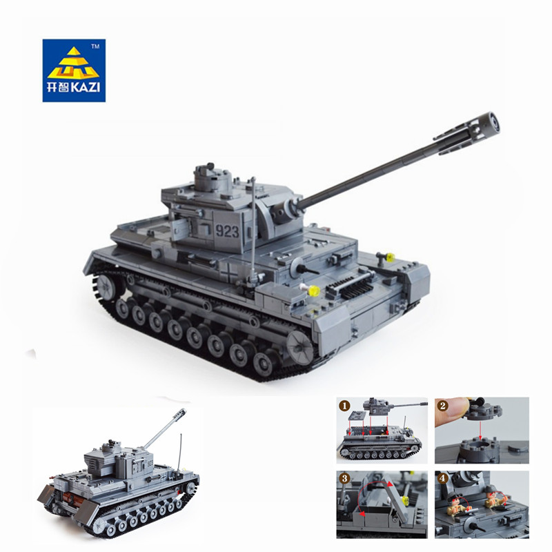 Kazi Large Panzer IV Tank 1193pcs Building Blocks Military Army Constructor set Educational Toys for Children Compatible mylb large panzer iv tank 1193pcs building blocks military army constructor set educational toys for children dropshipping