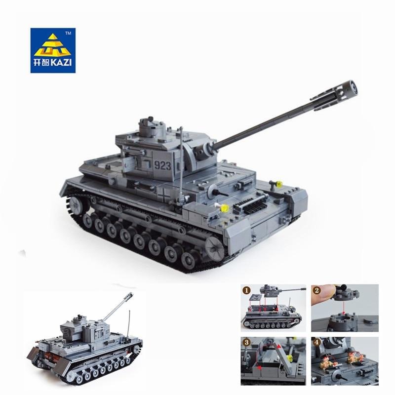 Kazi Large Panzer IV Tank 1193pcs Building Blocks Military Army Constructor set Educational Toys for Children Compatible