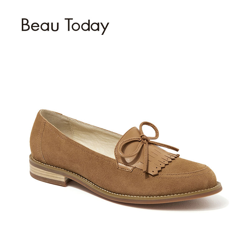 BeauToday Genuine   Leather   Women Loafers Handmade Shoes Spring Autumn Bowknot Fringe Ladies Sheepskin   Suede   Casual Flats 27032
